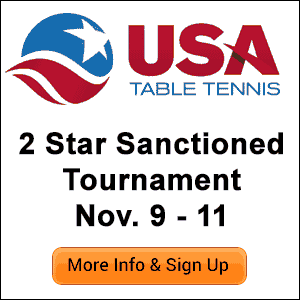 Kansas City Table Tennis 2018 Fall Open Tournament